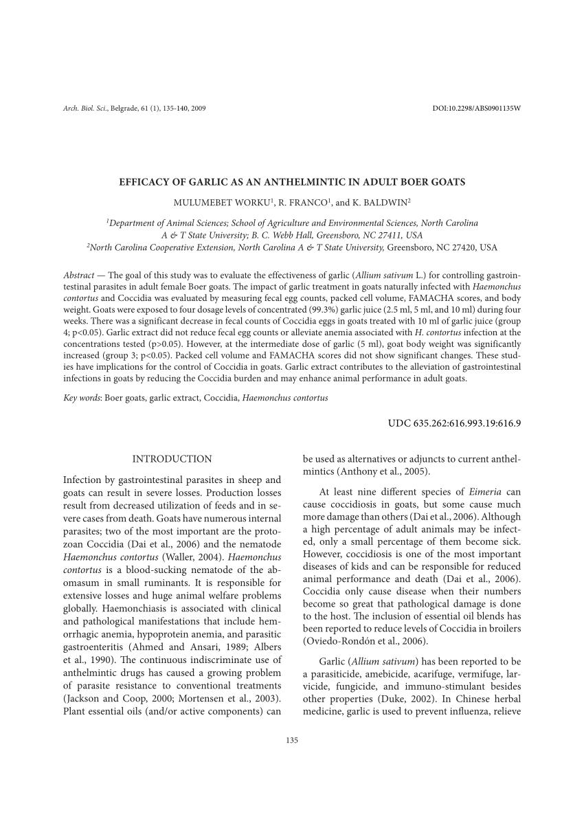 anthelmintic activity of garlic medicamento contra oxiuros