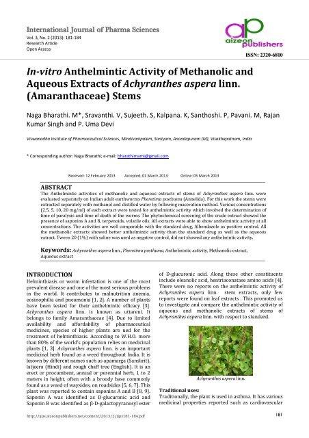 anthelmintic activity of garlic