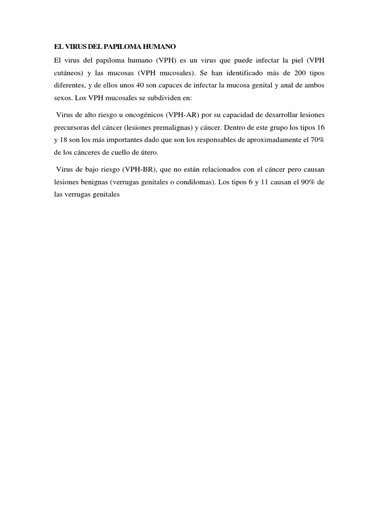 virus del papiloma tipo 6 y 11