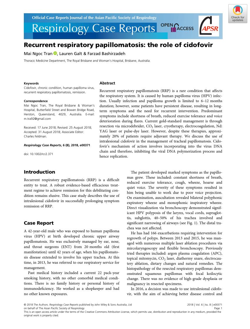 laryngeal papillomatosis treatment guidelines parazitii cluj