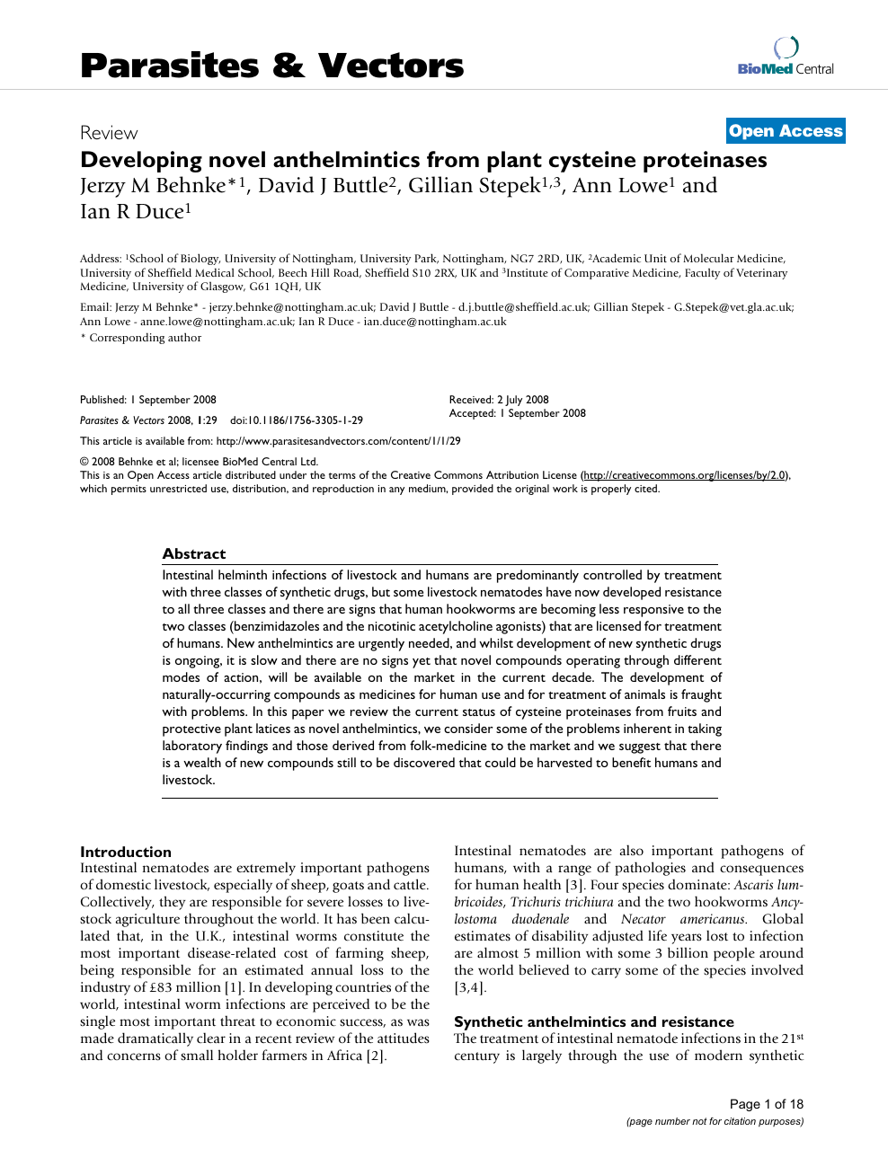 anthelmintic activity of plants against gastrointestinal nematodes of goats a review