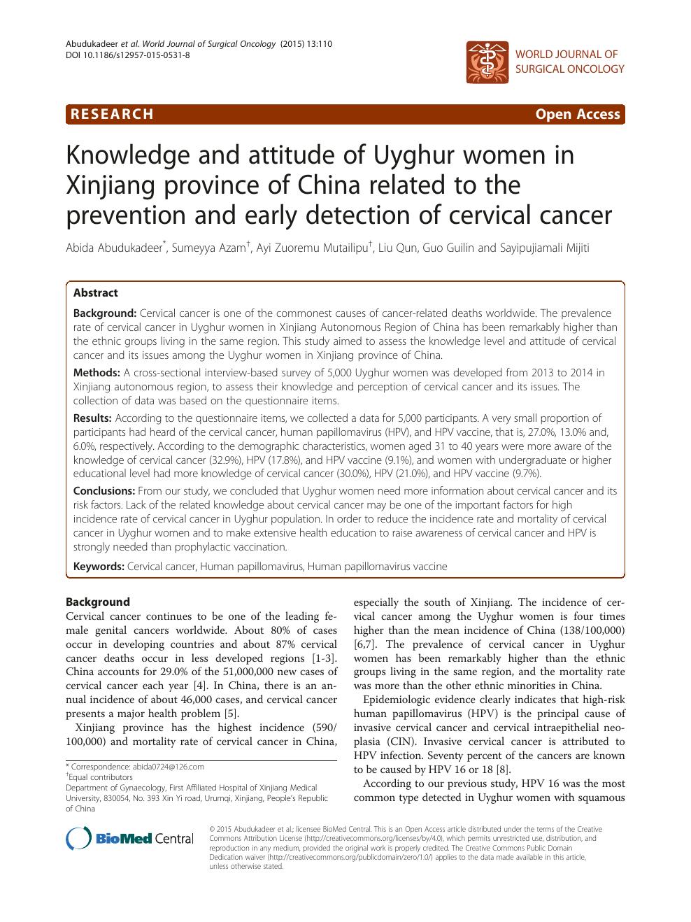 cervical cancer journal articles
