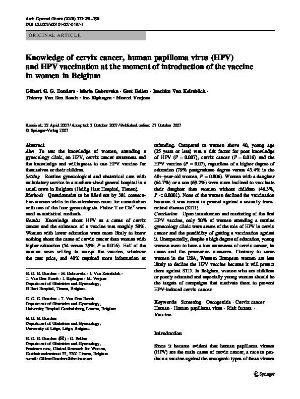hpv vaccine belgium vierme peste