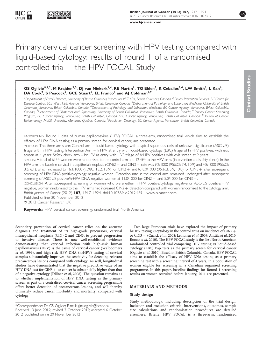 hpv research journal
