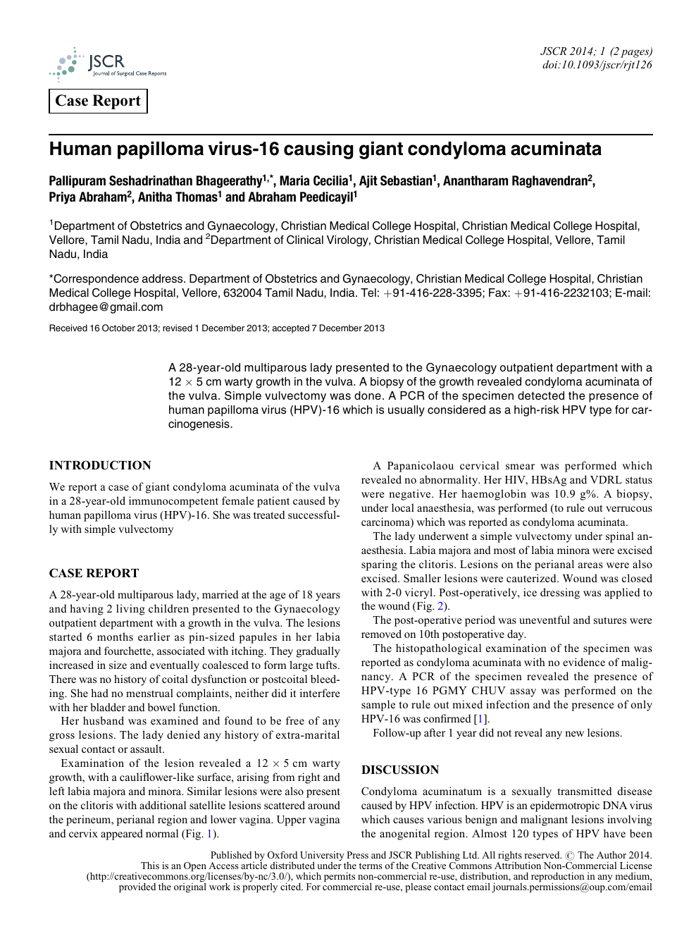 human papilloma virus case report